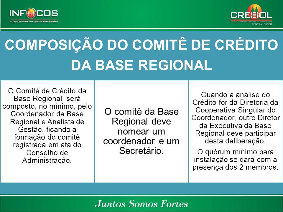 COMPOSIÇÃO DO COMITÊ DE CRÉDITO DA BASE REGIONAL O Comitê de Crédito da Base Regional será composto, no mínimo, pelo Coordenador da Base Regional e An