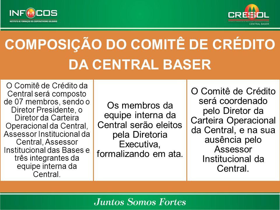 COMPOSIÇÃO DO COMITÊ DE CRÉDITO DA CENTRAL BASER O Comitê de Crédito da Central será composto de 07 membros, sendo o Diretor Presidente, o Diretor da