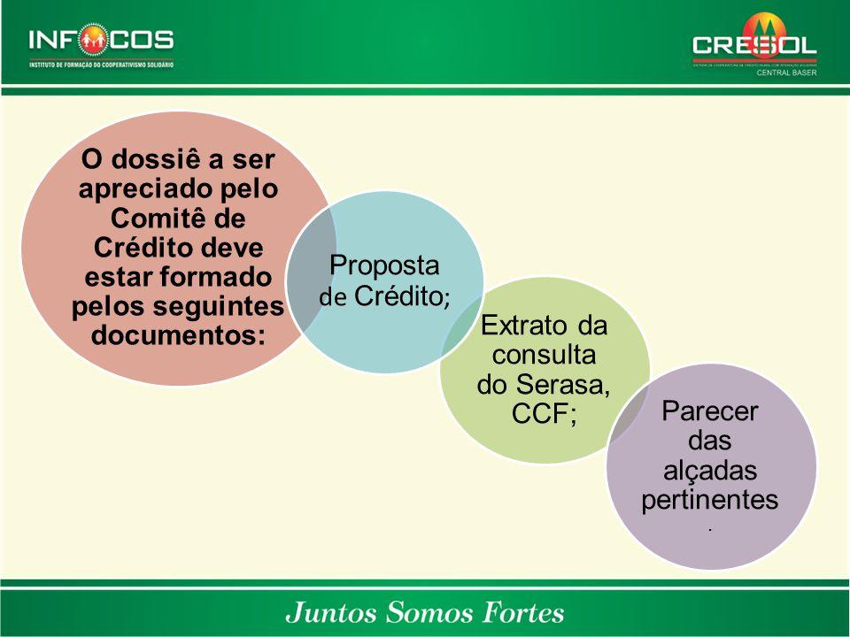 O dossiê a ser apreciado pelo Comitê de Crédito deve estar formado pelos seguintes documentos: Extrato da consulta do Serasa, CCF; Parecer das alçadas