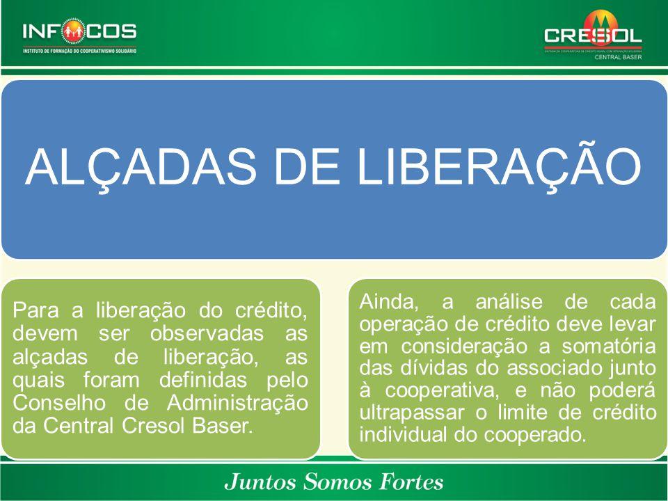 ALÇADAS DE LIBERAÇÃO Para a liberação do crédito, devem ser observadas as alçadas de liberação, as quais foram definidas pelo Conselho de Administraçã