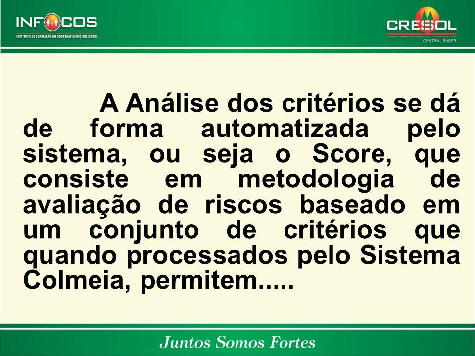 A Análise dos critérios se dá de forma automatizada pelo sistema, ou seja o Score, que consiste em metodologia de avaliação de riscos baseado em um co