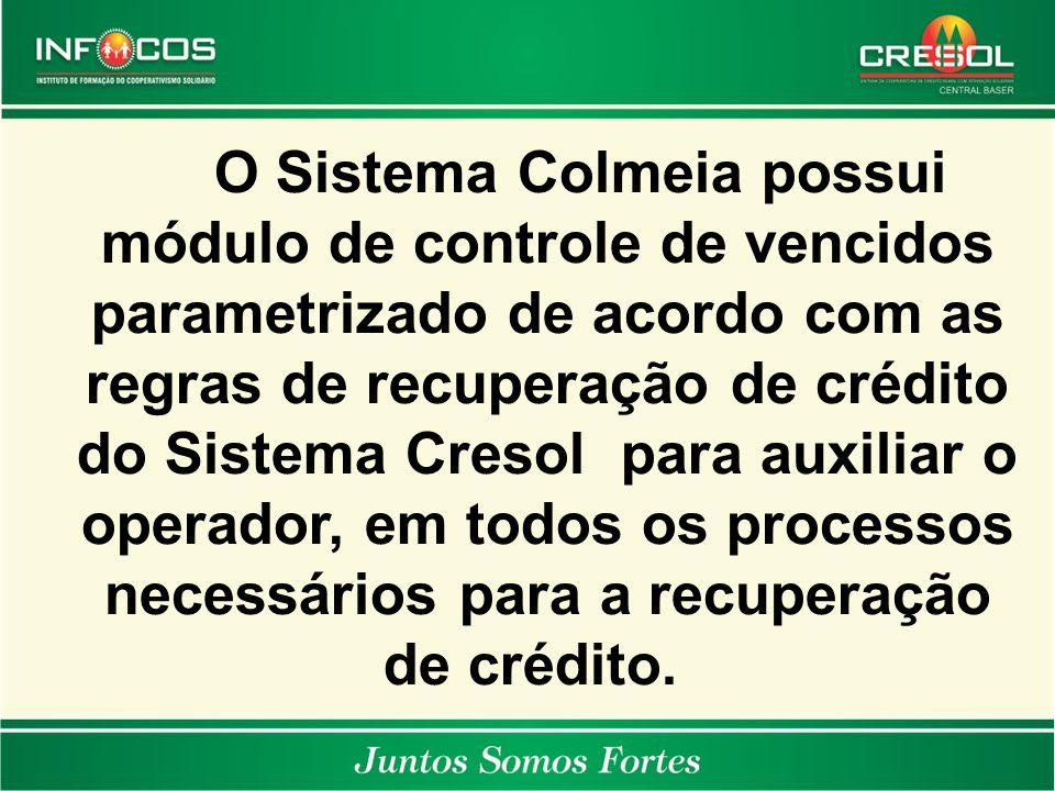 O Sistema Colmeia possui módulo de controle de vencidos parametrizado de acordo com as regras de recuperação de crédito do Sistema Cresol para auxilia