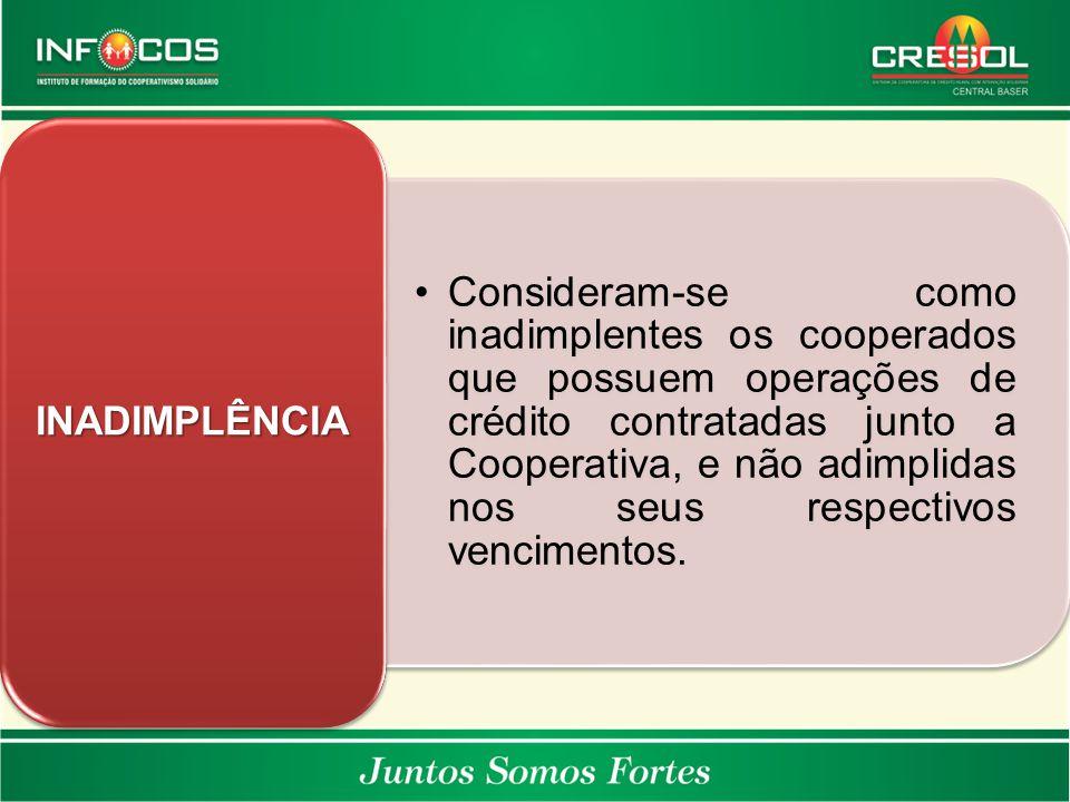 Consideram-se como inadimplentes os cooperados que possuem operações de crédito contratadas junto a Cooperativa, e não adimplidas nos seus respectivos