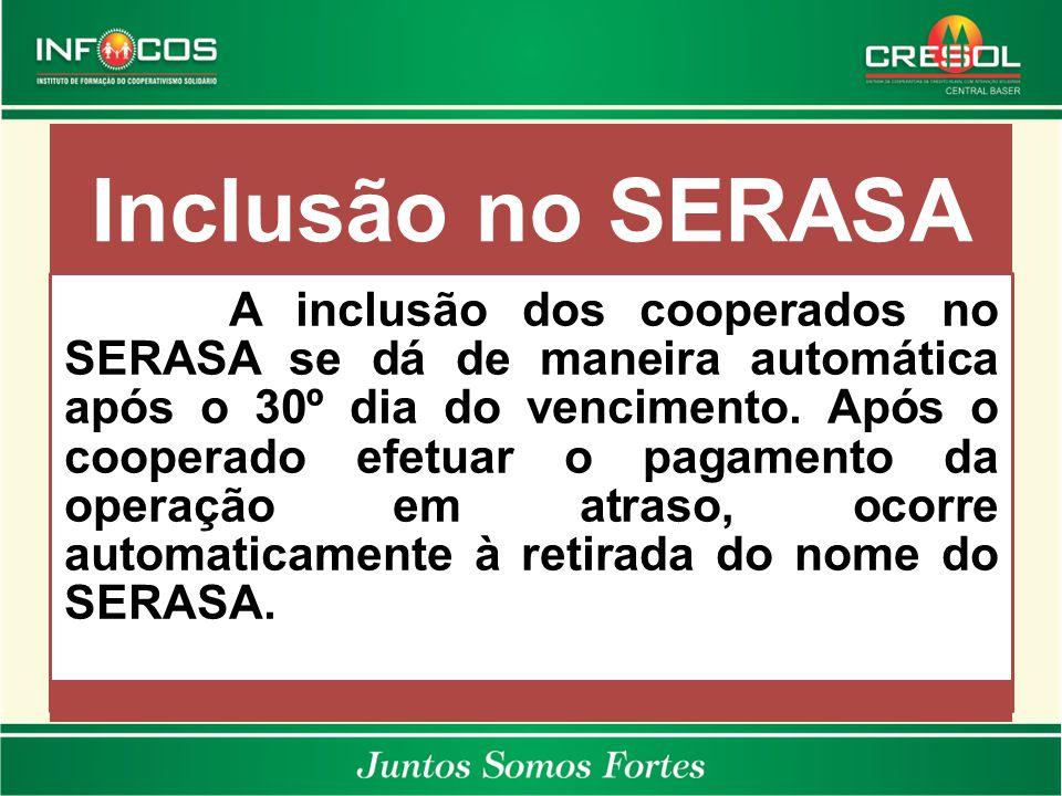 Inclusão no SERASA A inclusão dos cooperados no SERASA se dá de maneira automática após o 30º dia do vencimento. Após o cooperado efetuar o pagamento