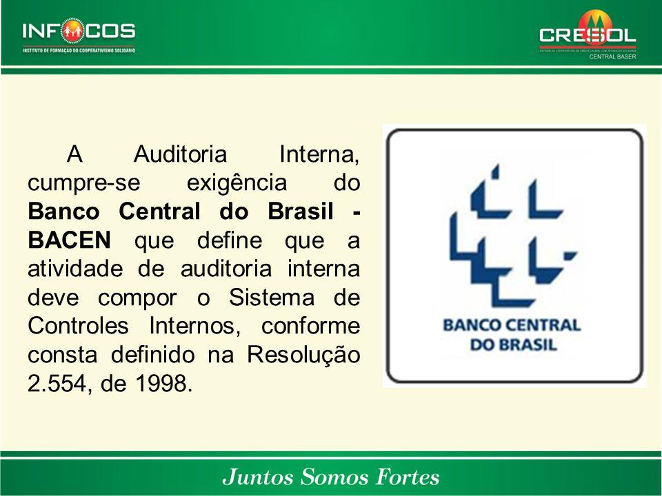 A Auditoria Interna, cumpre-se exigência do Banco Central do Brasil - BACEN que define que a atividade de auditoria interna deve compor o Sistema de C