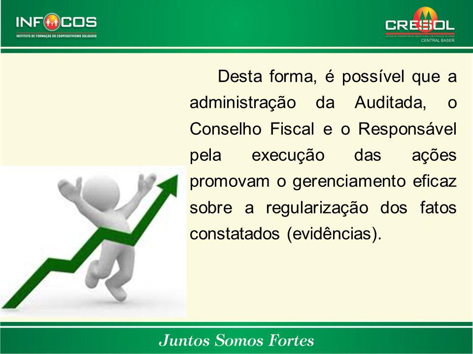 Desta forma, é possível que a administração da Auditada, o Conselho Fiscal e o Responsável pela execução das ações promovam o gerenciamento eficaz sob