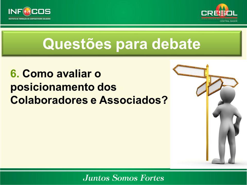 Questões para debate 6. Como avaliar o posicionamento dos Colaboradores e Associados?