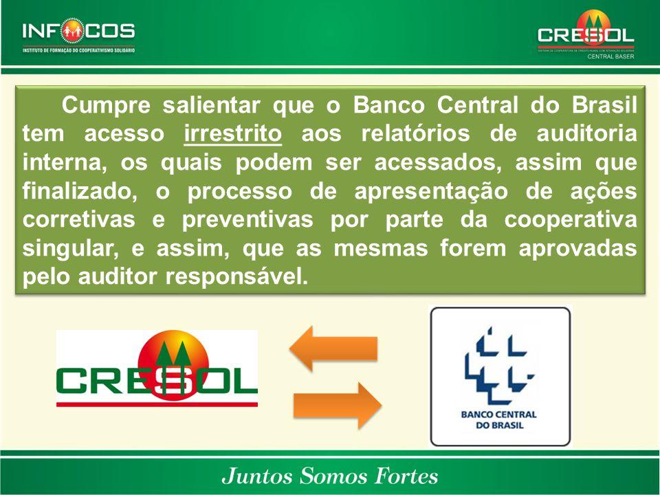Cumpre salientar que o Banco Central do Brasil tem acesso irrestrito aos relatórios de auditoria interna, os quais podem ser acessados, assim que fina