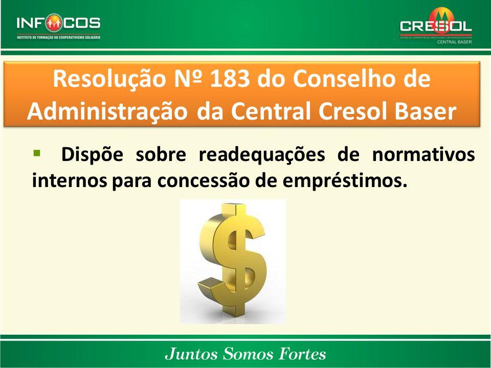 Resolução Nº 183 do Conselho de Administração da Central Cresol Baser  Dispõe sobre readequações de normativos internos para concessão de empréstimos