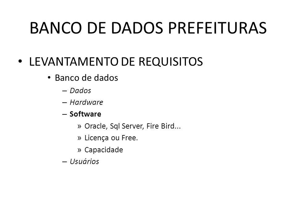 BANCO DE DADOS PREFEITURAS LEVANTAMENTO DE REQUISITOS Banco de dados – Dados – Hardware – Software » Oracle, Sql Server, Fire Bird...