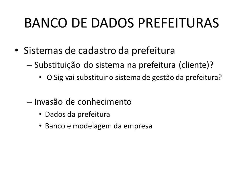 BANCO DE DADOS PREFEITURAS Sistemas de cadastro da prefeitura – Substituição do sistema na prefeitura (cliente).