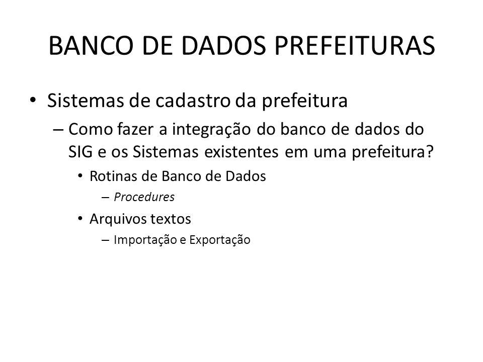 BANCO DE DADOS PREFEITURAS Sistemas de cadastro da prefeitura – Como fazer a integração do banco de dados do SIG e os Sistemas existentes em uma prefeitura.