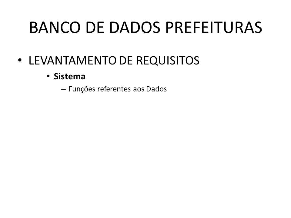 BANCO DE DADOS PREFEITURAS LEVANTAMENTO DE REQUISITOS Sistema – Funções referentes aos Dados