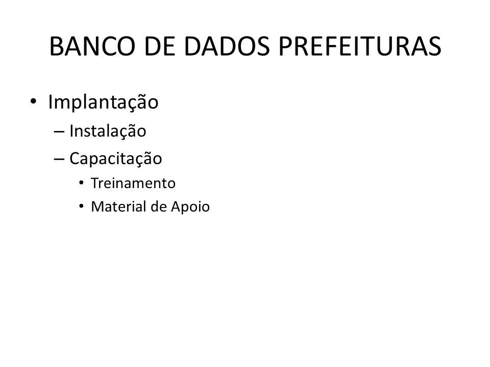 BANCO DE DADOS PREFEITURAS Implantação – Instalação – Capacitação Treinamento Material de Apoio