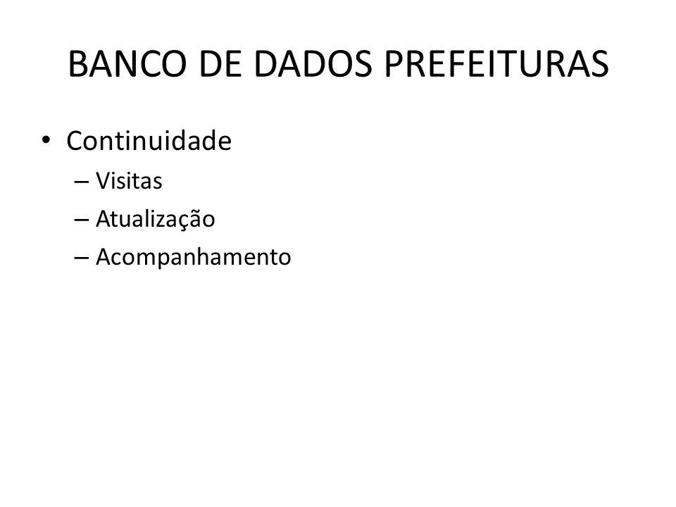BANCO DE DADOS PREFEITURAS Continuidade – Visitas – Atualização – Acompanhamento