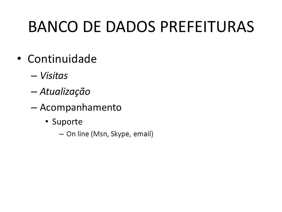 BANCO DE DADOS PREFEITURAS Continuidade – Visitas – Atualização – Acompanhamento Suporte – On line (Msn, Skype, email)