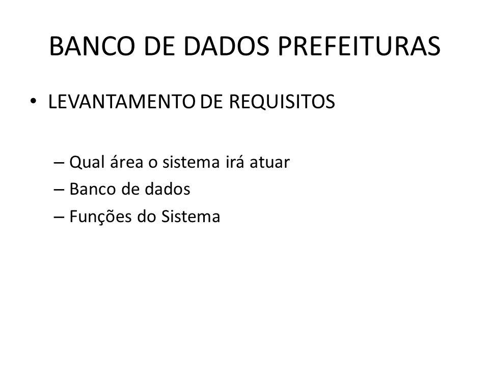 BANCO DE DADOS PREFEITURAS LEVANTAMENTO DE REQUISITOS – Qual área o sistema irá atuar – Banco de dados – Funções do Sistema