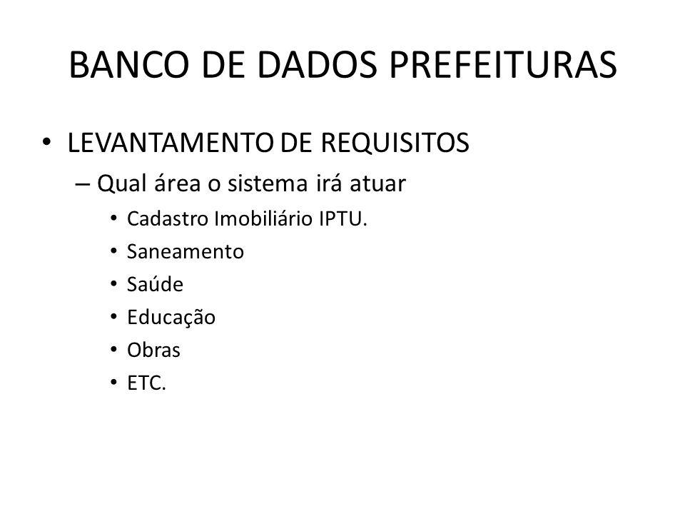 BANCO DE DADOS PREFEITURAS LEVANTAMENTO DE REQUISITOS – Qual área o sistema irá atuar Cadastro Imobiliário IPTU.