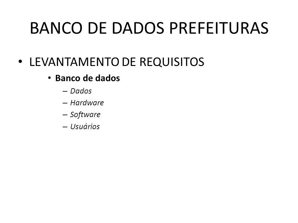 BANCO DE DADOS PREFEITURAS LEVANTAMENTO DE REQUISITOS Banco de dados – Dados – Hardware – Software – Usuários