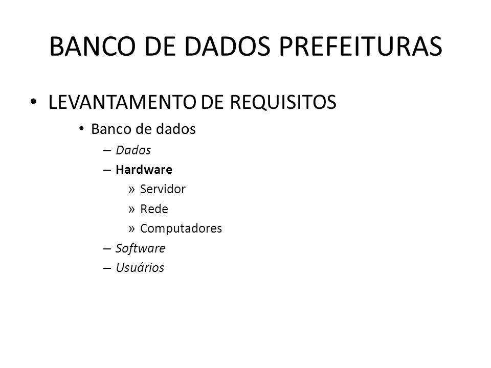 BANCO DE DADOS PREFEITURAS LEVANTAMENTO DE REQUISITOS Banco de dados – Dados – Hardware » Servidor » Rede » Computadores – Software – Usuários