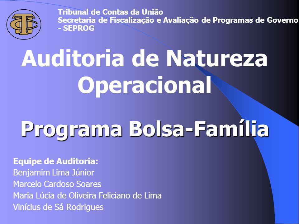 CONTATOS Secretaria de Fiscalização e Avaliação de Programa de Governo - Seprog tel: 316-7652 (assessoria) e-mail: seprog@tcu.gov.br Coordenador da auditoria: Marcelo Cardoso Soares tel: (61) 316-7892 e-mail: marcelocs@tcu.gov.br Leitura do Relatório e Acórdão na Internet: www.tcu.gov.br/avaliacaodeprogramasdegoverno