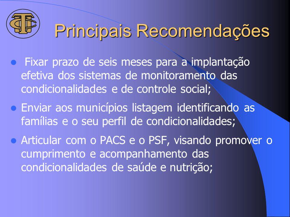 Principais Recomendações Fixar prazo de seis meses para a implantação efetiva dos sistemas de monitoramento das condicionalidades e de controle social