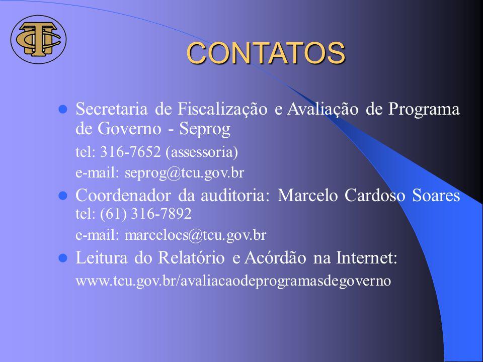 CONTATOS Secretaria de Fiscalização e Avaliação de Programa de Governo - Seprog tel: 316-7652 (assessoria) e-mail: seprog@tcu.gov.br Coordenador da au