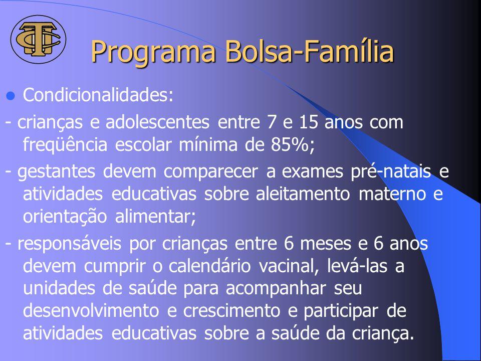 Programa Bolsa-Família Condicionalidades: - crianças e adolescentes entre 7 e 15 anos com freqüência escolar mínima de 85%; - gestantes devem comparec