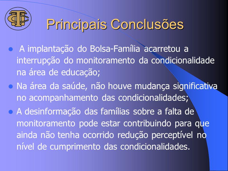 Principais Conclusões A implantação do Bolsa-Família acarretou a interrupção do monitoramento da condicionalidade na área de educação; Na área da saúd