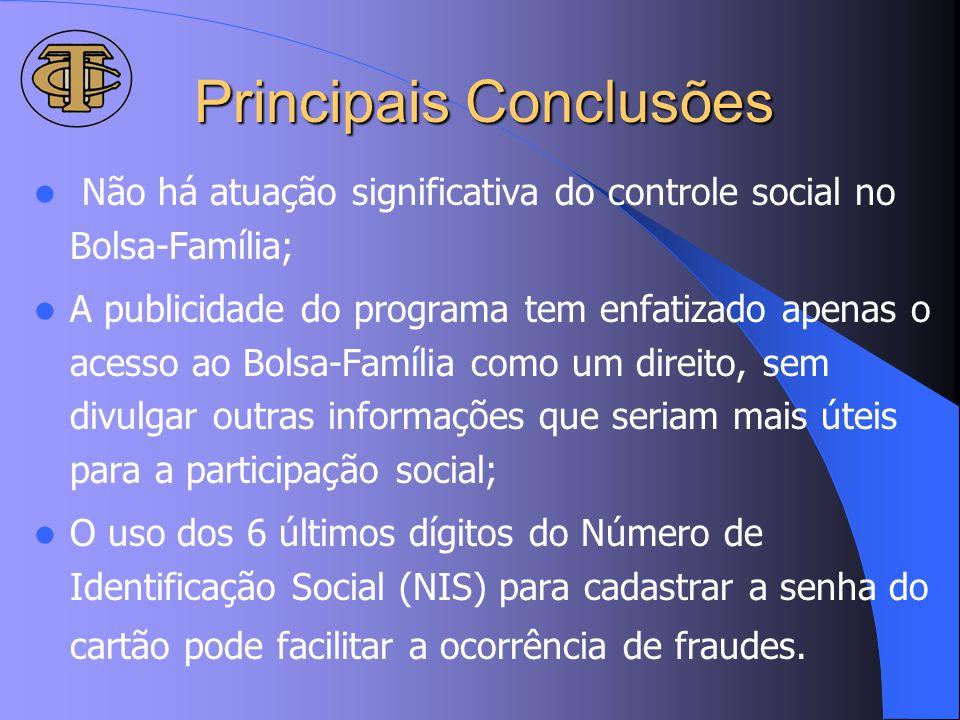 Principais Conclusões Não há atuação significativa do controle social no Bolsa-Família; A publicidade do programa tem enfatizado apenas o acesso ao Bo
