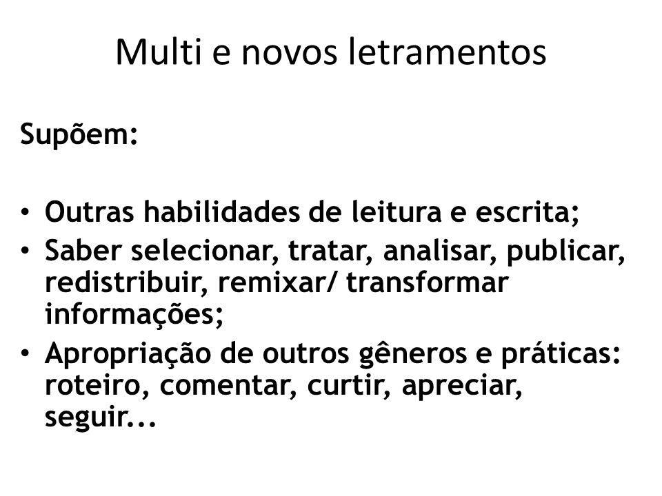 Multi e novos letramentos Supõem: Outras habilidades de leitura e escrita; Saber selecionar, tratar, analisar, publicar, redistribuir, remixar/ transf