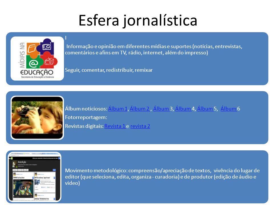 Esfera jornalística I Informação e opinião em diferentes mídias e suportes (notícias, entrevistas, comentários e afins em TV, rádio, internet, além do