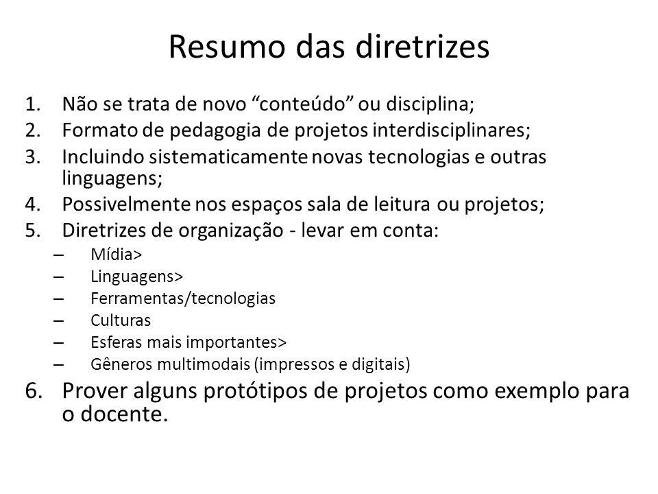 """Resumo das diretrizes 1.Não se trata de novo """"conteúdo"""" ou disciplina; 2.Formato de pedagogia de projetos interdisciplinares; 3.Incluindo sistematicam"""