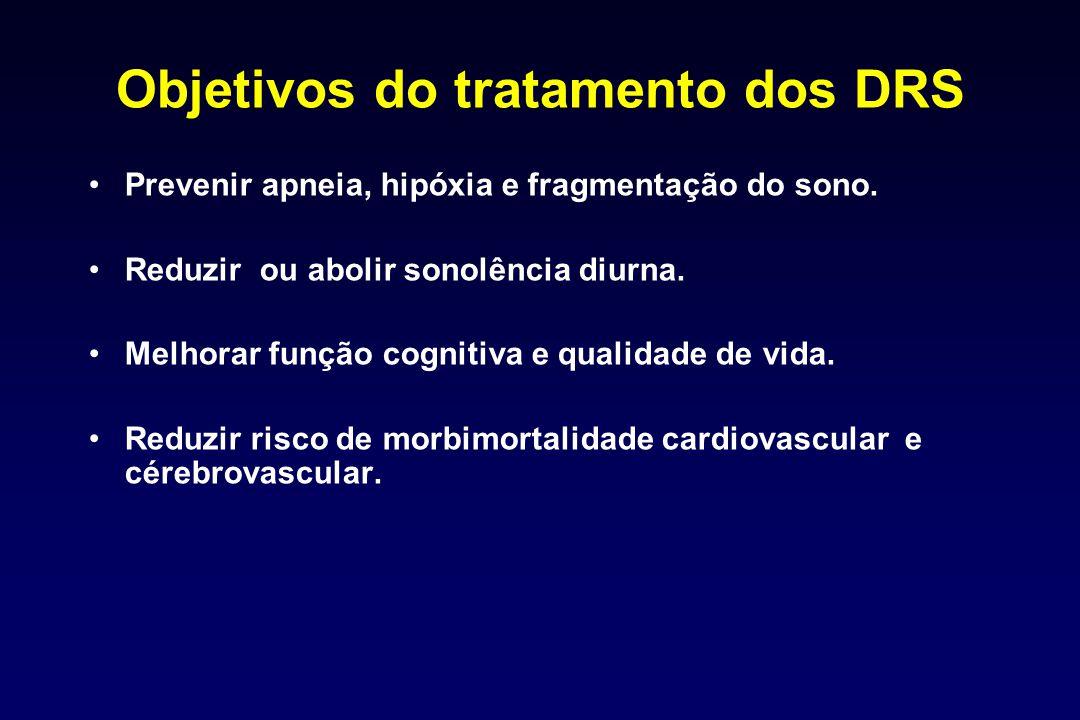 Objetivos do tratamento dos DRS Prevenir apneia, hipóxia e fragmentação do sono. Reduzir ou abolir sonolência diurna. Melhorar função cognitiva e qual