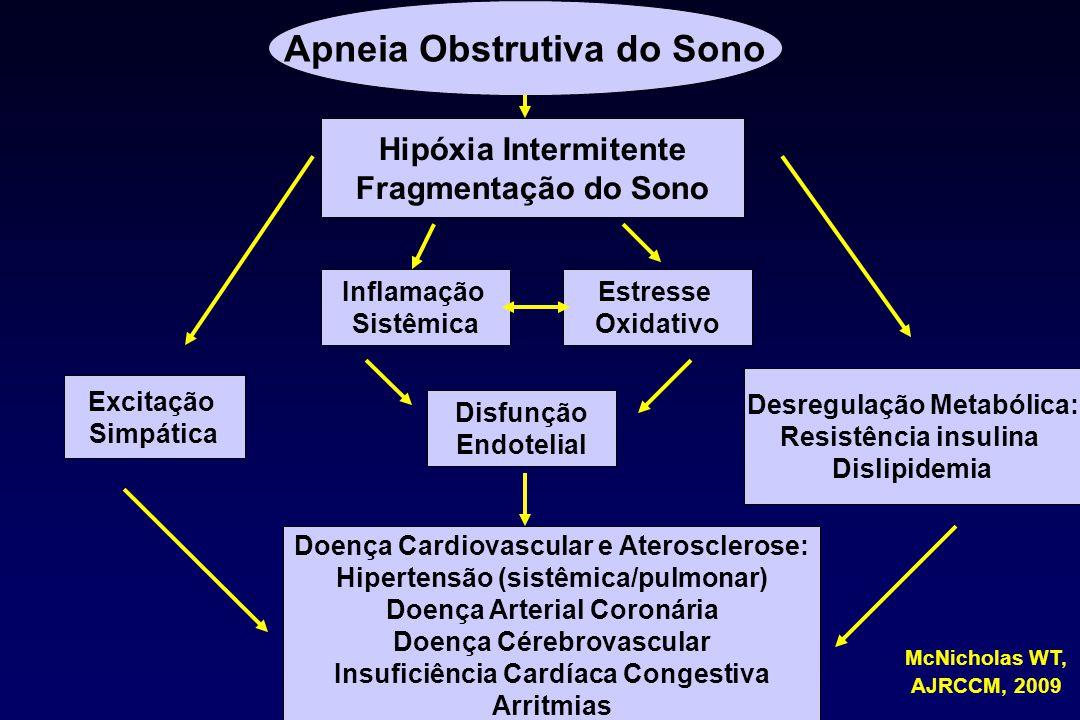 Apneia Obstrutiva do Sono Hipóxia Intermitente Fragmentação do Sono Excitação Simpática Desregulação Metabólica: Resistência insulina Dislipidemia Inf
