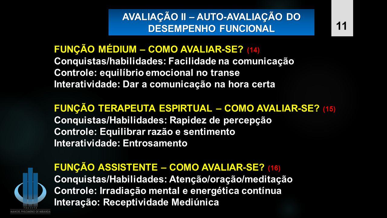 AVALIAÇÃO II – AUTO-AVALIAÇÃO DO DESEMPENHO FUNCIONAL FUNÇÃO TERAPEUTA ESPIRTUAL – COMO AVALIAR-SE? (15) Conquistas/Habilidades: Rapidez de percepção