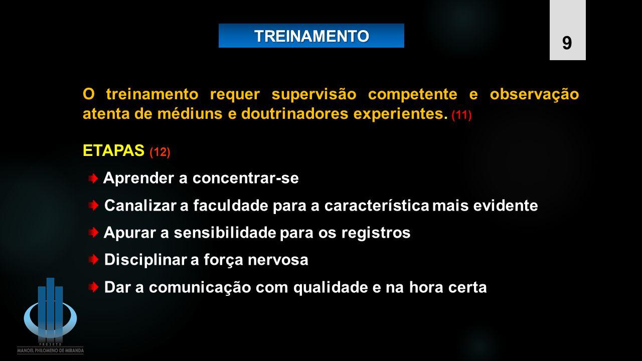 TREINAMENTOTREINAMENTO ETAPAS ETAPAS (12) Aprender a concentrar-se Canalizar a faculdade para a característica mais evidente Apurar a sensibilidade pa