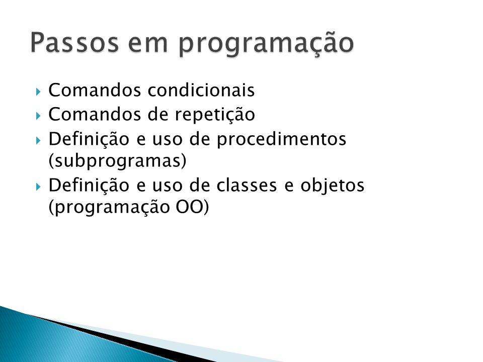  Comandos condicionais  Comandos de repetição  Definição e uso de procedimentos (subprogramas)  Definição e uso de classes e objetos (programação OO)