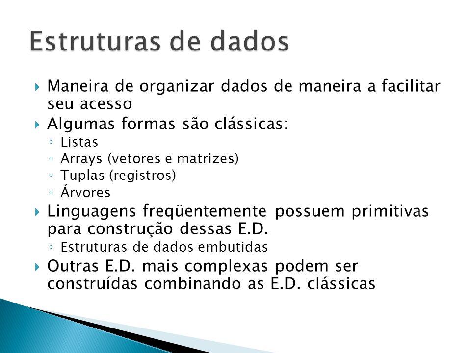  Maneira de organizar dados de maneira a facilitar seu acesso  Algumas formas são clássicas: ◦ Listas ◦ Arrays (vetores e matrizes) ◦ Tuplas (registros) ◦ Árvores  Linguagens freqüentemente possuem primitivas para construção dessas E.D.