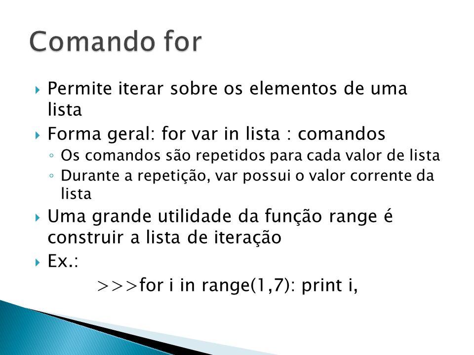  Permite iterar sobre os elementos de uma lista  Forma geral: for var in lista : comandos ◦ Os comandos são repetidos para cada valor de lista ◦ Durante a repetição, var possui o valor corrente da lista  Uma grande utilidade da função range é construir a lista de iteração  Ex.: >>>for i in range(1,7): print i,
