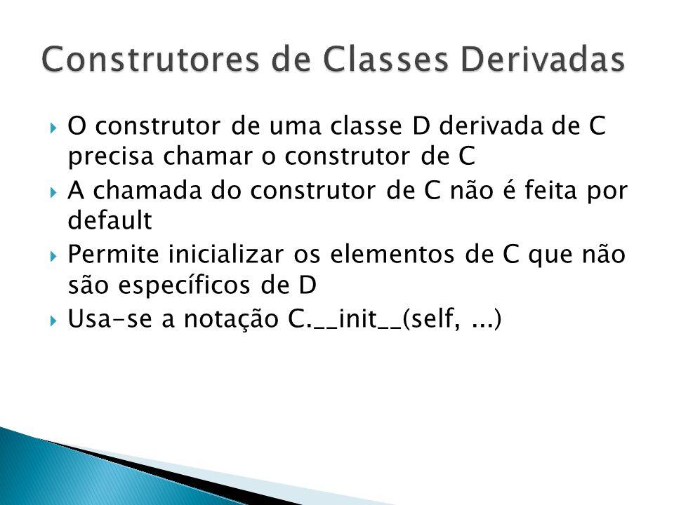  O construtor de uma classe D derivada de C precisa chamar o construtor de C  A chamada do construtor de C não é feita por default  Permite inicializar os elementos de C que não são específicos de D  Usa-se a notação C.__init__(self,...)