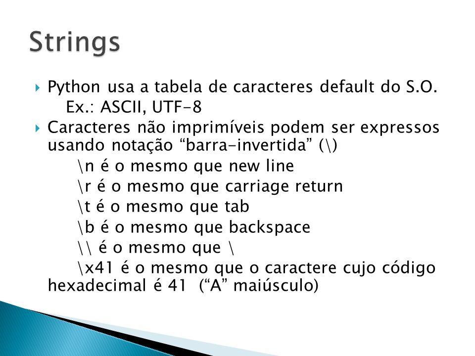  A notação barra-invertida (\) pode ser desabilitada desde que a constante string seja precedida por um r (erre minúsculo) ◦ São chamadas strings raw (cruas)  Também é possível escrever constantes string em várias linhas incluindo as quebras de linha usando três aspas como delimitadores