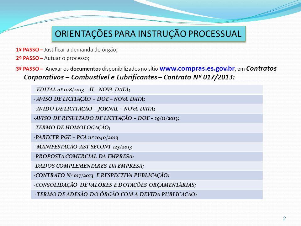 1º PASSO – Justificar a demanda do órgão; 2º PASSO – Autuar o processo; 3º PASSO – Anexar os documentos disponibilizados no sítio www.compras.es.gov.b