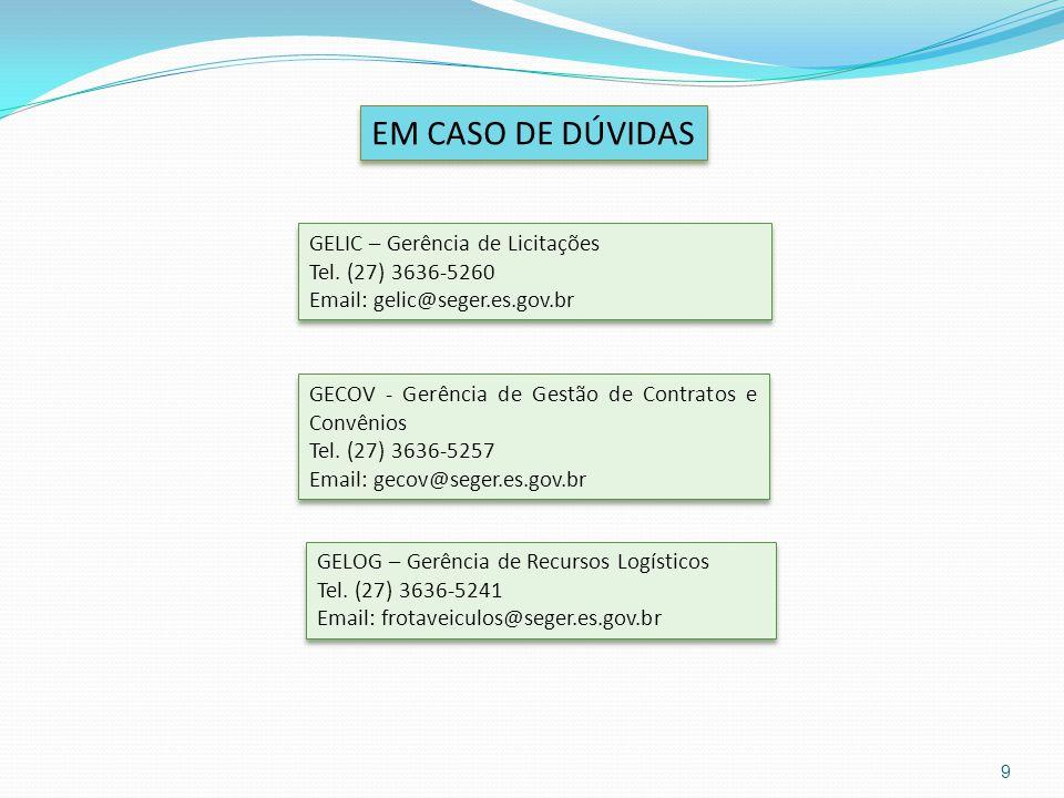 EM CASO DE DÚVIDAS GECOV - Gerência de Gestão de Contratos e Convênios Tel. (27) 3636-5257 Email: gecov@seger.es.gov.br GECOV - Gerência de Gestão de