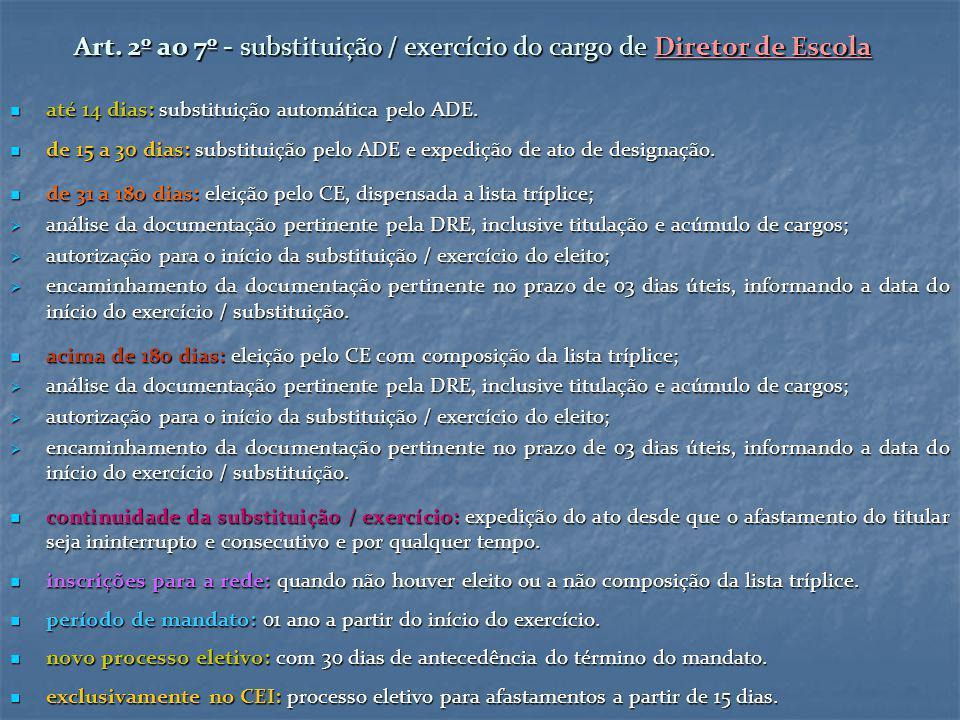 Art. 2º ao 7º - substituição / exercício do cargo de Diretor de Escola até 14 dias: substituição automática pelo ADE. até 14 dias: substituição automá