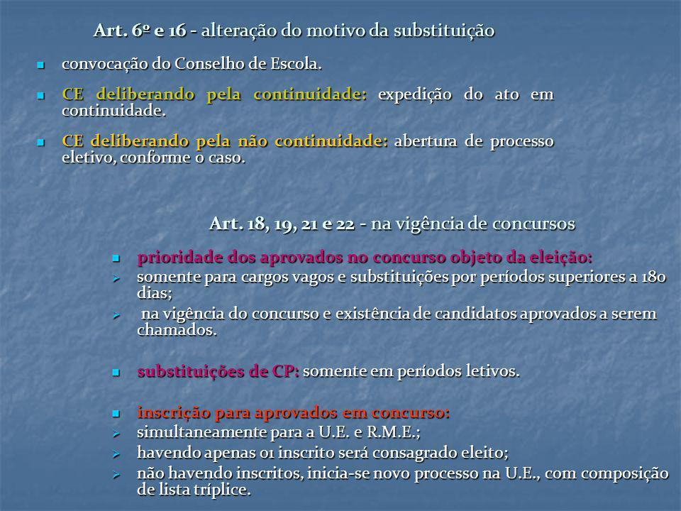 Art. 6º e 16 - alteração do motivo da substituição convocação do Conselho de Escola. convocação do Conselho de Escola. CE deliberando pela continuidad