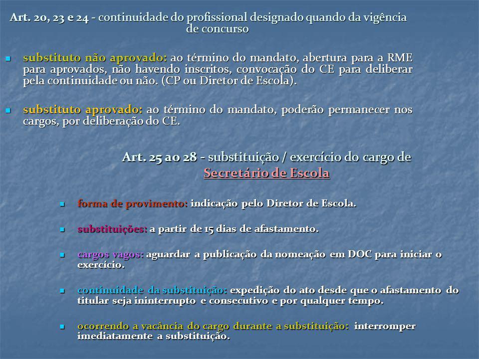 Art. 20, 23 e 24 - continuidade do profissional designado quando da vigência de concurso substituto não aprovado: ao término do mandato, abertura para