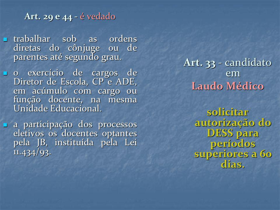 Art. 29 e 44 - é vedado trabalhar sob as ordens diretas do cônjuge ou de parentes até segundo grau. trabalhar sob as ordens diretas do cônjuge ou de p
