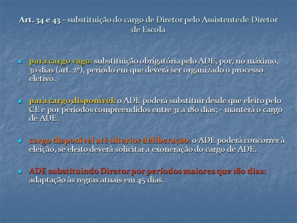 Art. 34 e 43 - substituição do cargo de Diretor pelo Assistente de Diretor de Escola para cargo vago: substituição obrigatória pelo ADE, por, no máxim