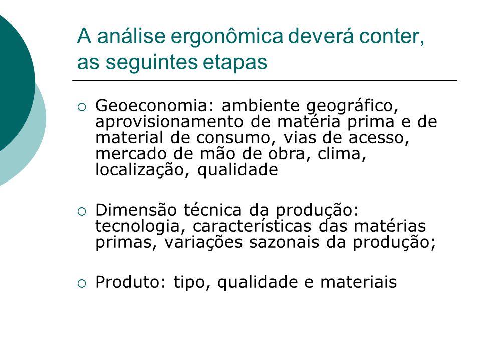 A análise ergonômica deverá conter, as seguintes etapas  Geoeconomia: ambiente geográfico, aprovisionamento de matéria prima e de material de consumo
